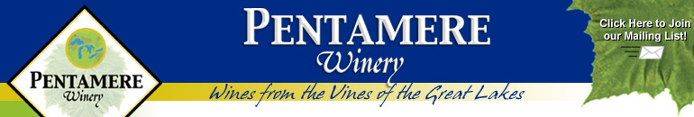 Pentamere logo and motto: Wines from the Vines of the Great Lakes